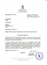 Földművelésügyi Minisztérium levele