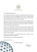Magyar Nemzeti Bank - Megtisztelő elnöki levele